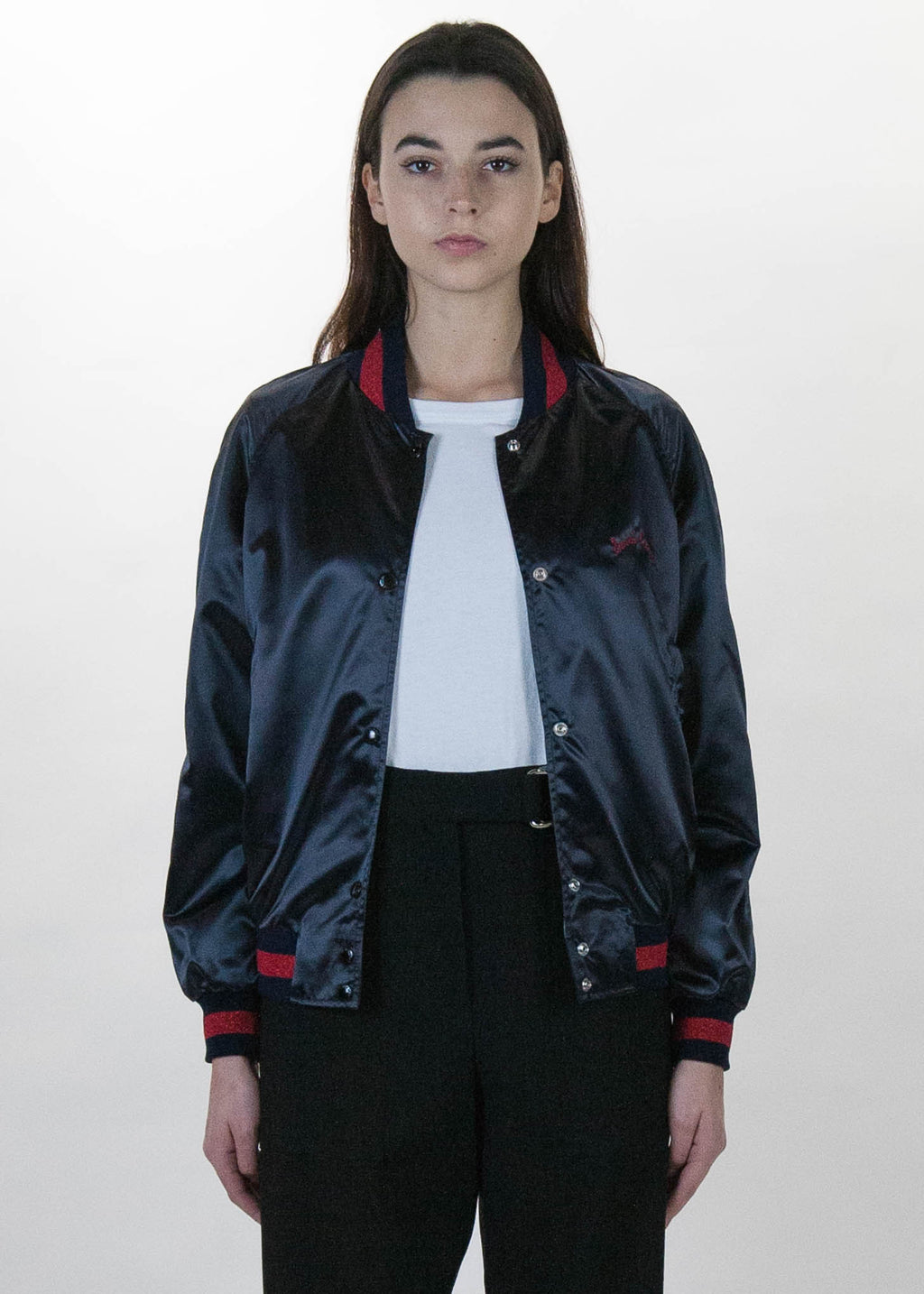 Maison Kitsune, Black Bicolor Satin Teddy Jacket, 017 Shop
