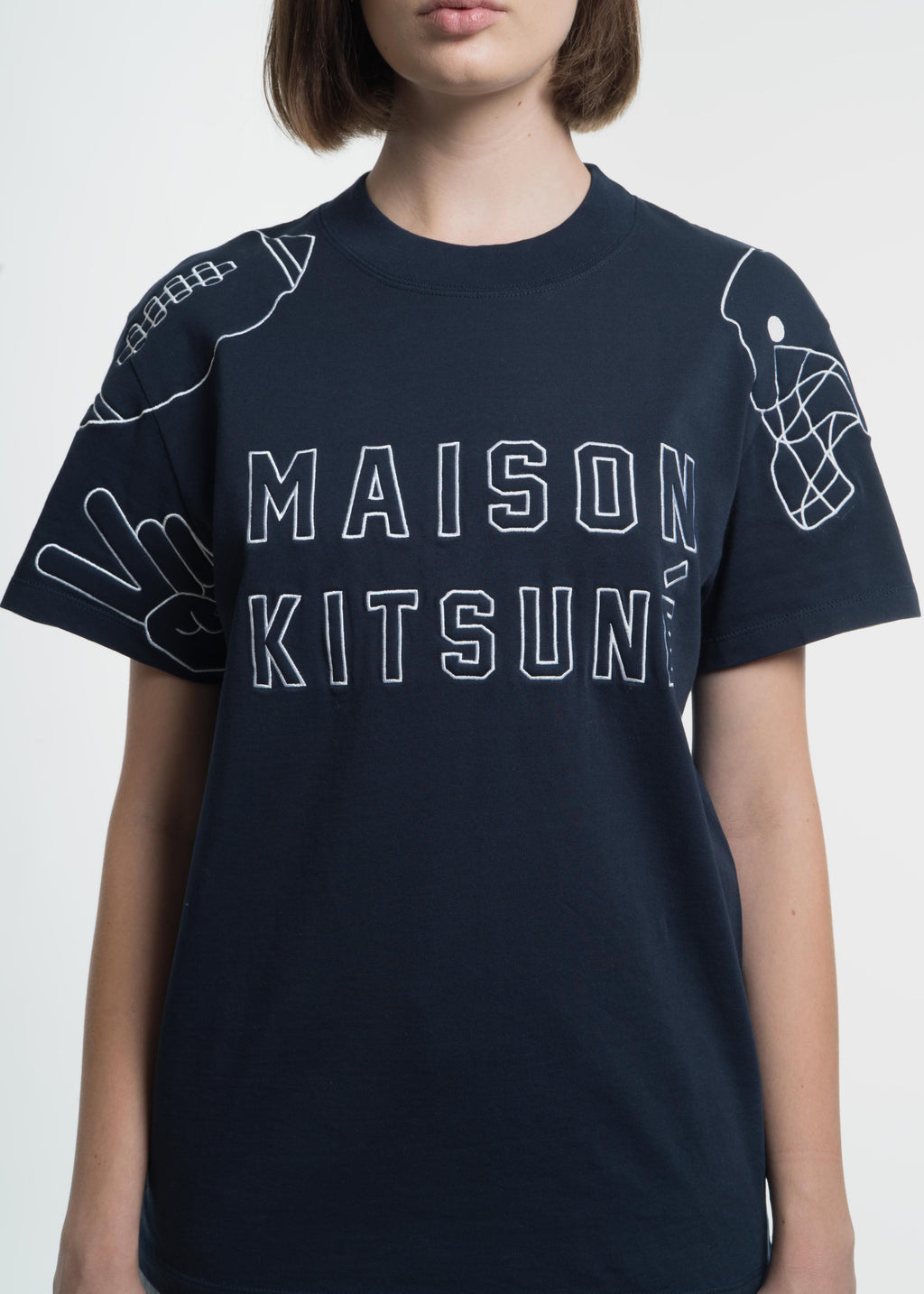Maison Kitsune, Blue Football Embroidery T-Shirt, 017 Shop
