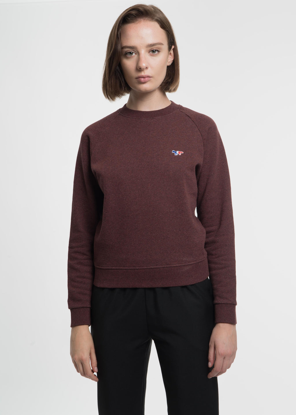 Burgundy Tricolor Fox Sweatshirt