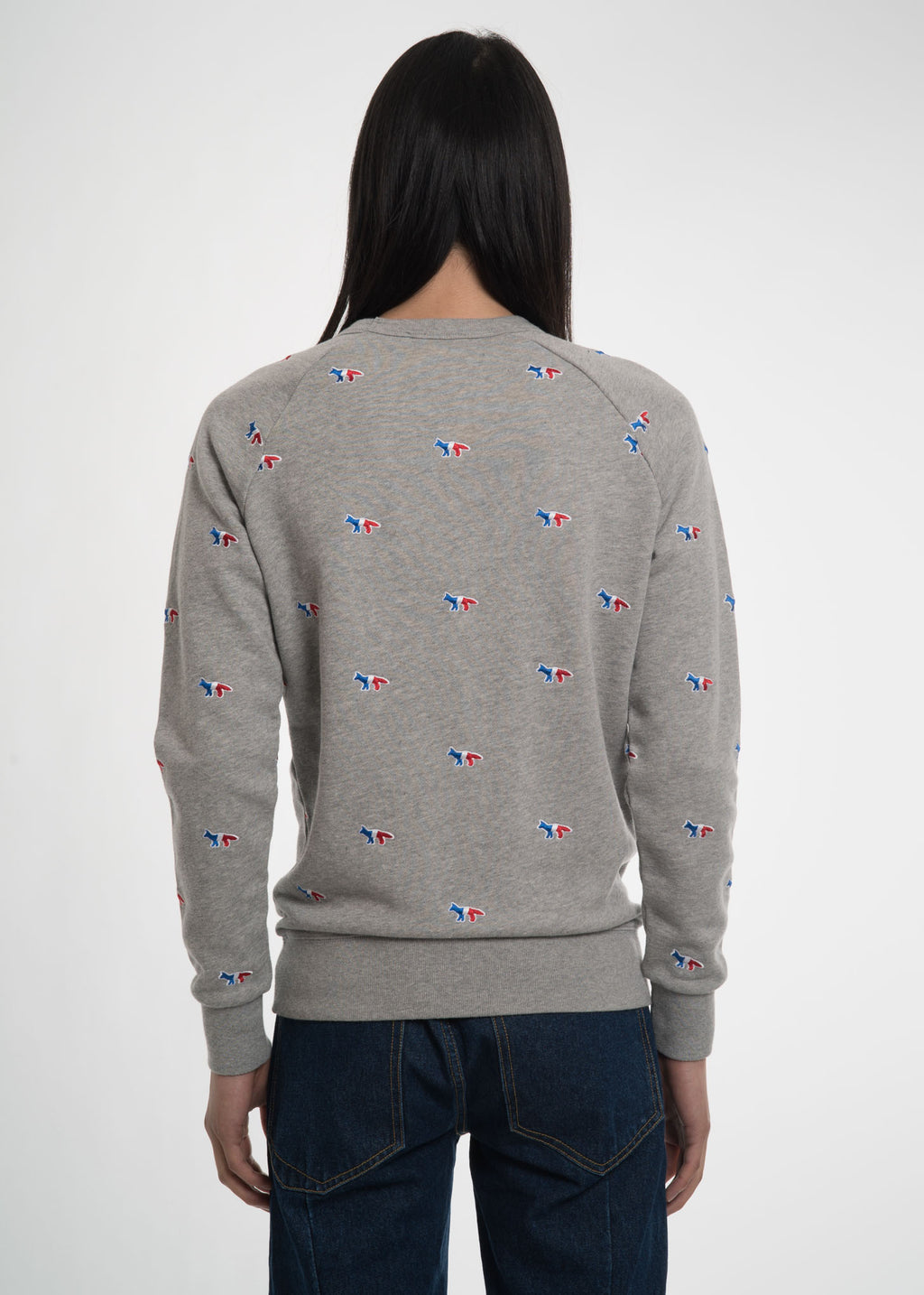 Maison Kitsune, Grey All Over Tricolor Fox Sweatshirt, 017 Shop