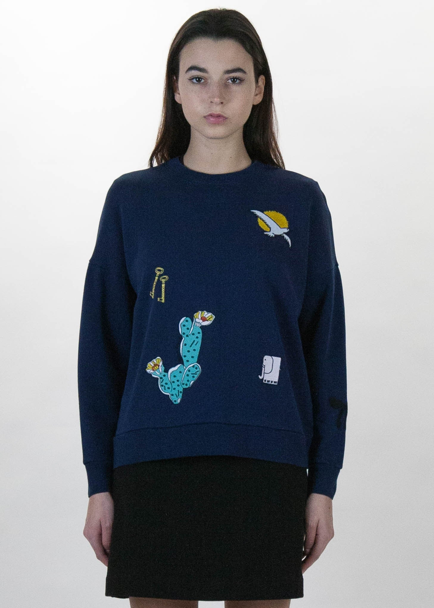 Navy Embroideries Sweatshirt