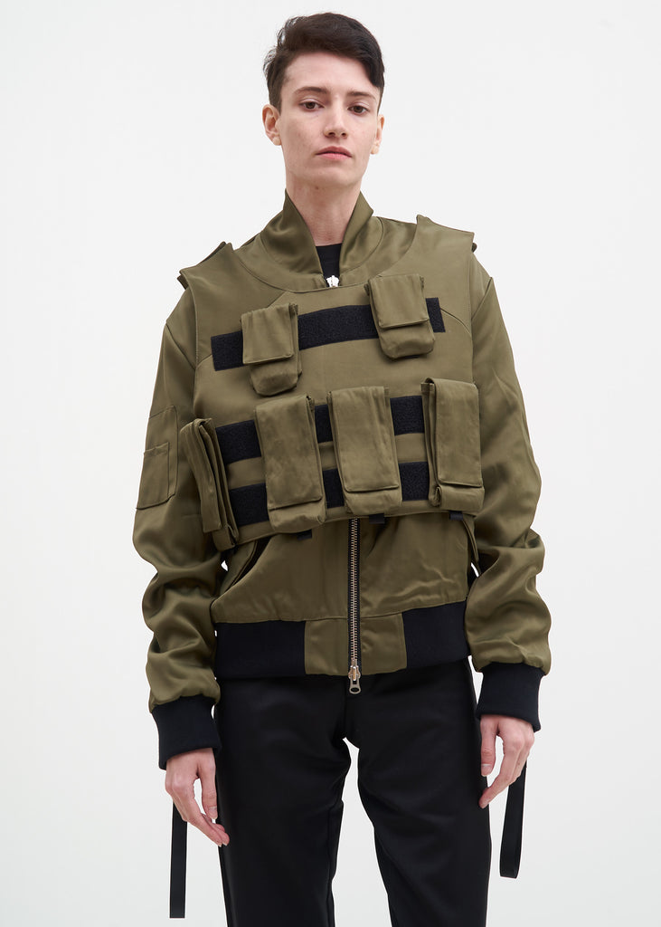 Olive Bomber w/ Removable Tactical Vest