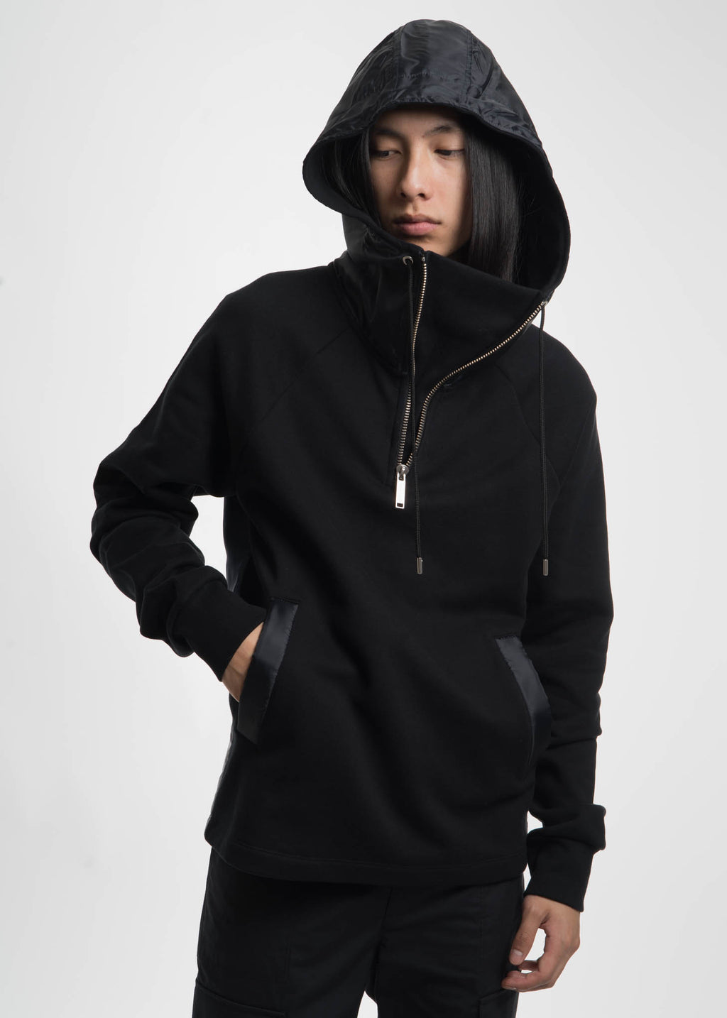 Black Shepp High Collar Hoodie w/ Nylon