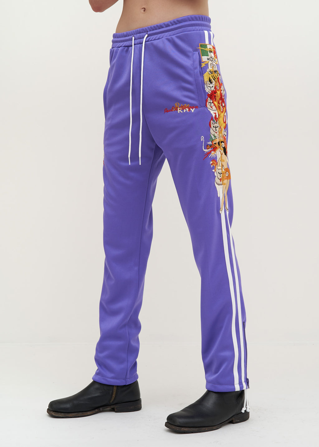 Purple Chaos Embroidery Track Pants
