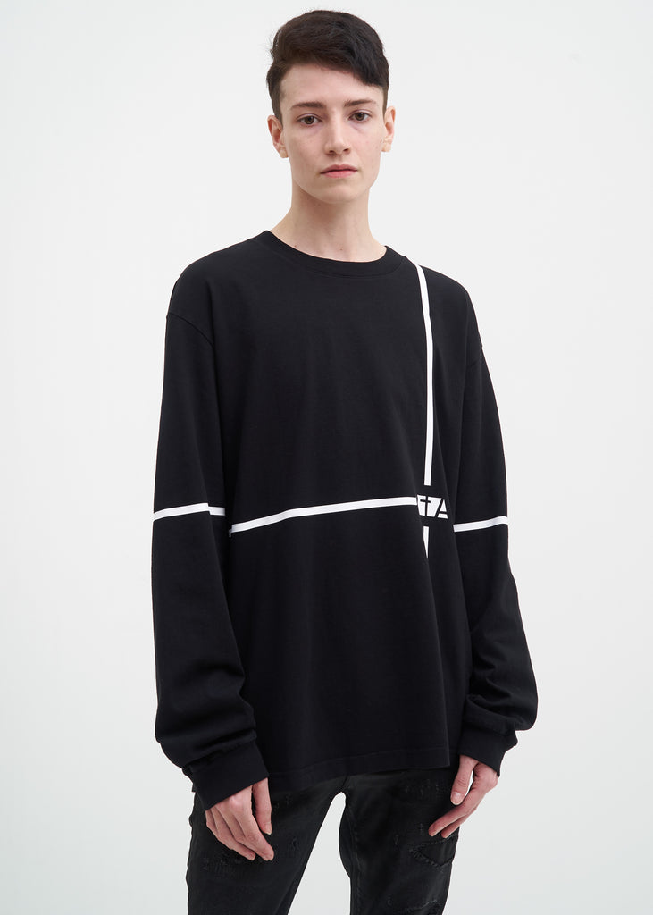 Black Long Sleeve Lines Tee