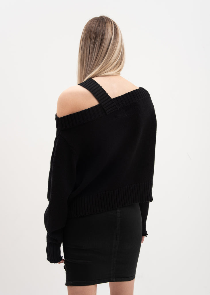 Black Off Shoulder Beckett Sweater