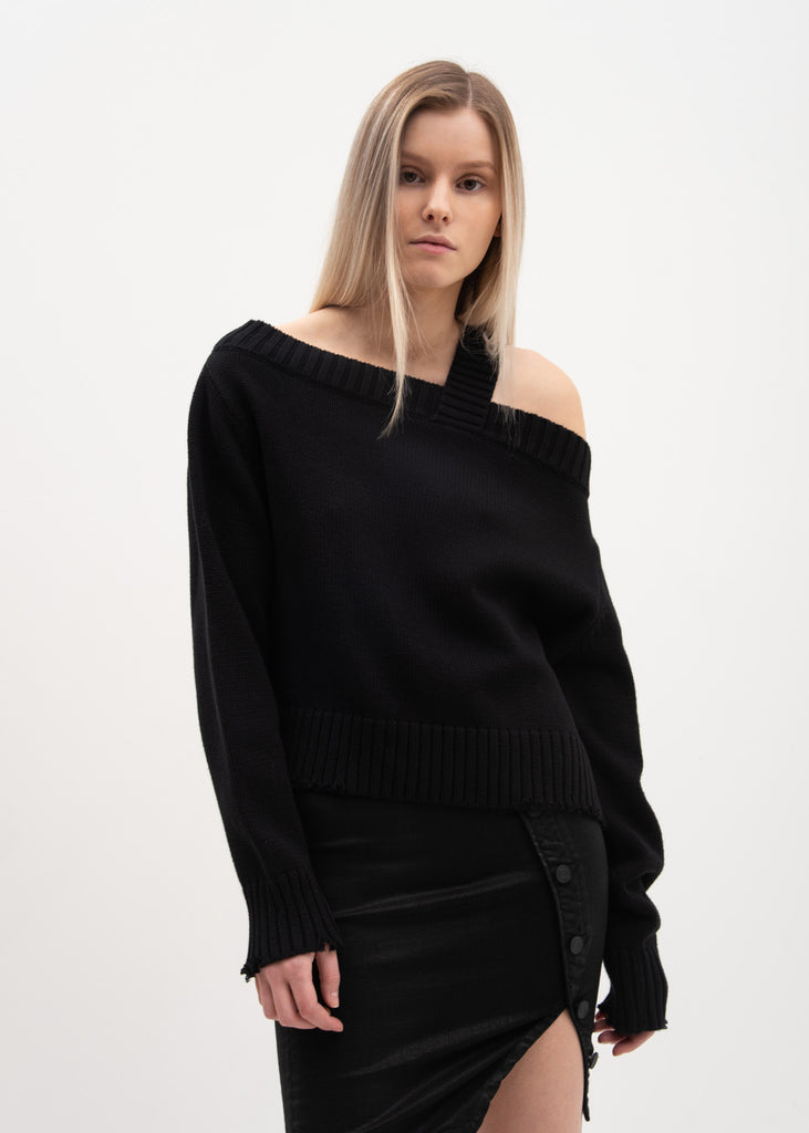 RtA, Black Off Shoulder Beckett Sweater, 017 Shop
