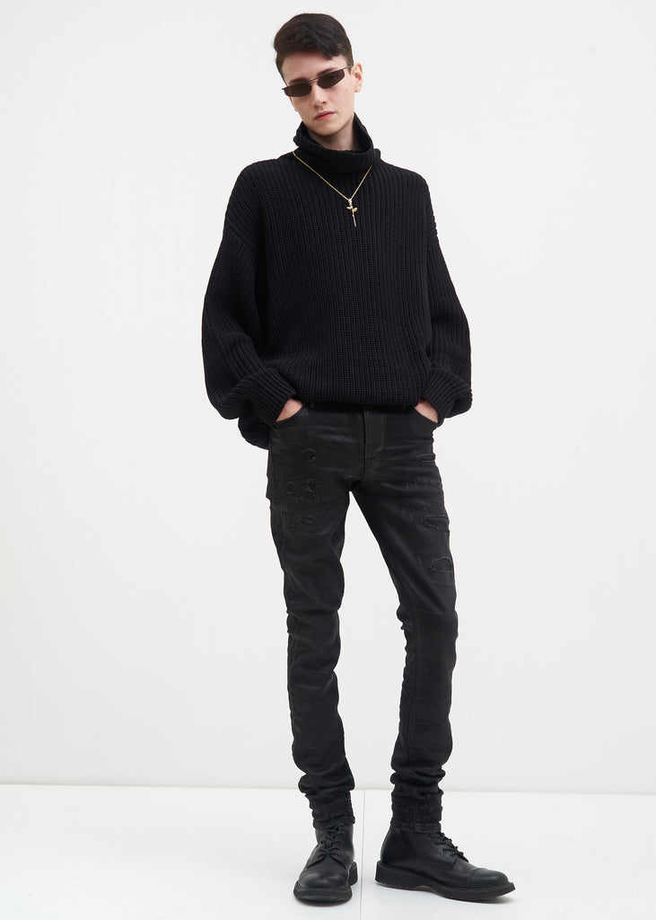 Black Oversized Night Vision Turtle Neck