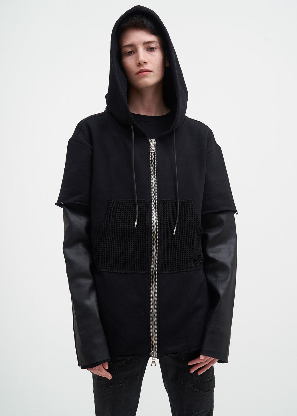 RtA, Black Zip Hoodie w/ Leather Sleeves, 017 Shop