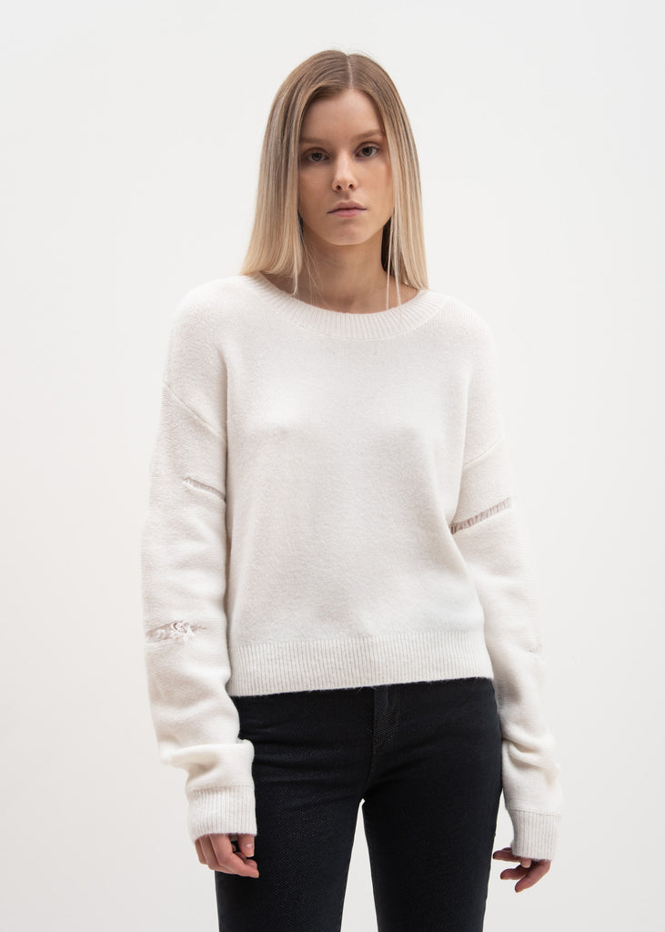 White Zane Knit Sweater