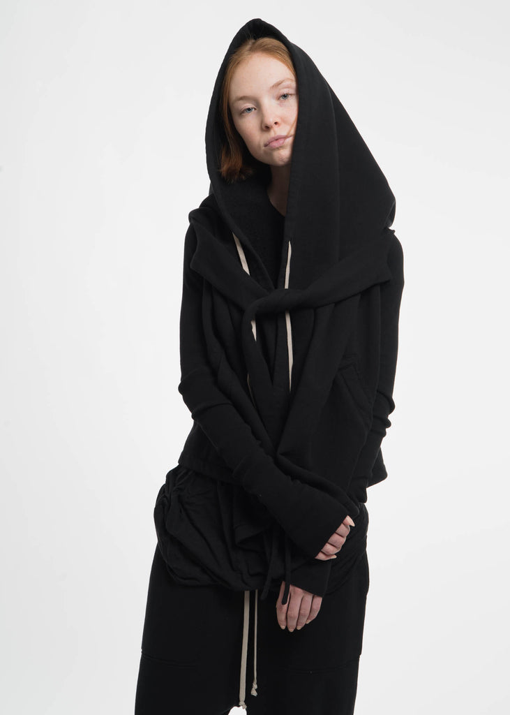 Black Cropped Hooded Wrap Sweatshirt