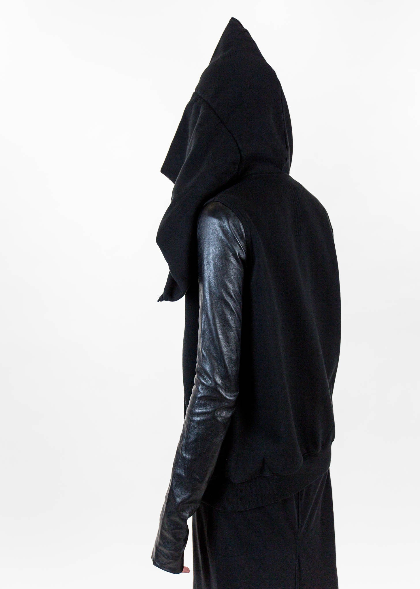 Black Long Mountain Hoodie with Leather Sleeves