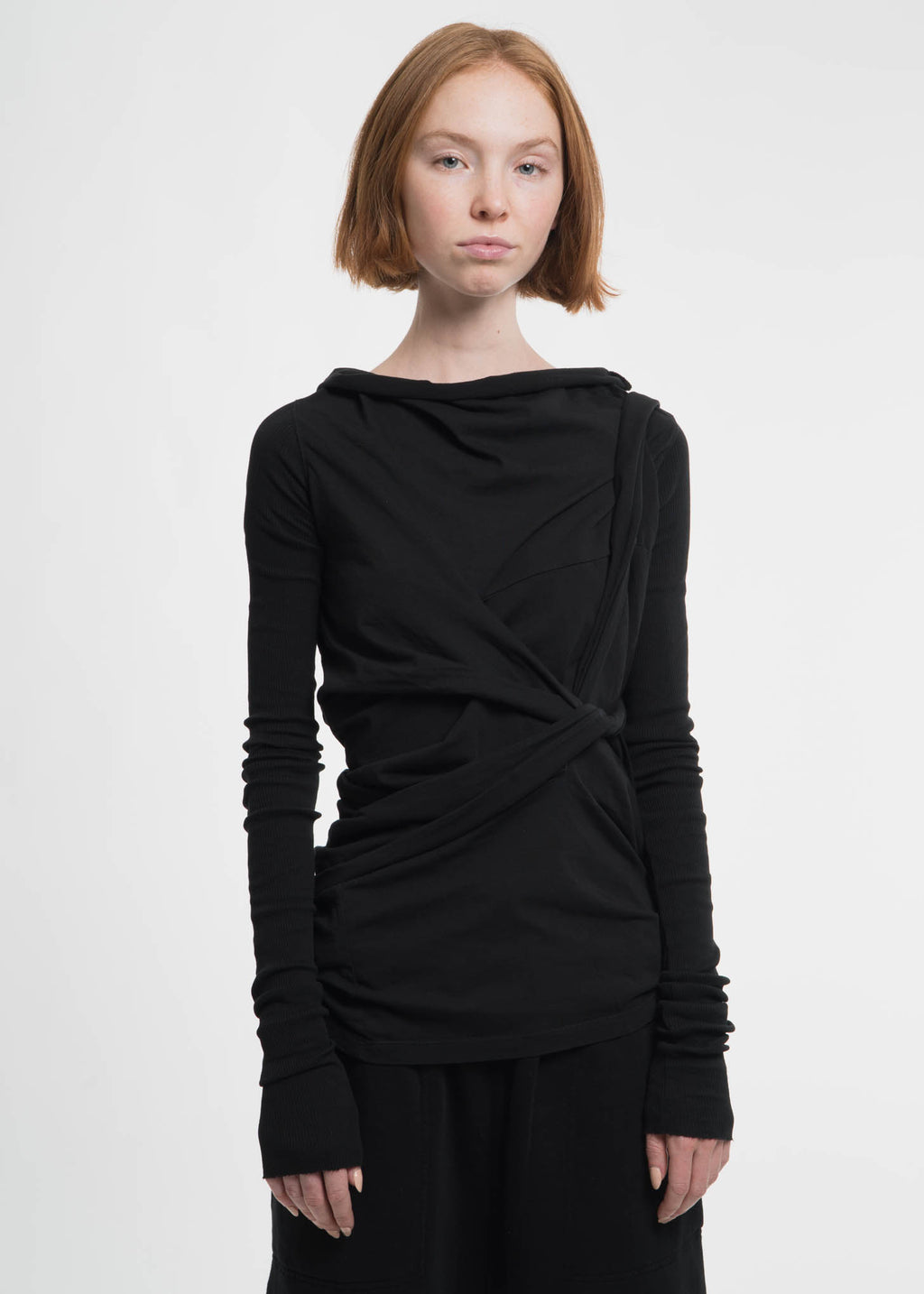 Black Long Sleeve Tie T-Shirt