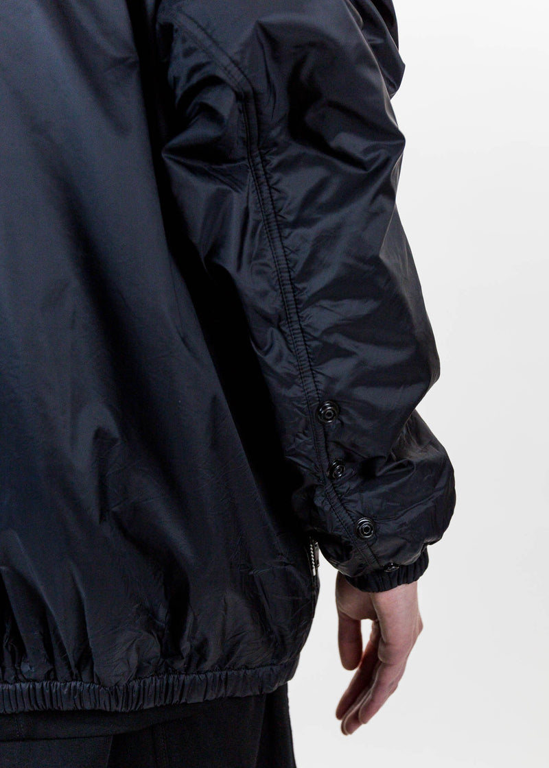 Black Oversized Nylon Windbreaker