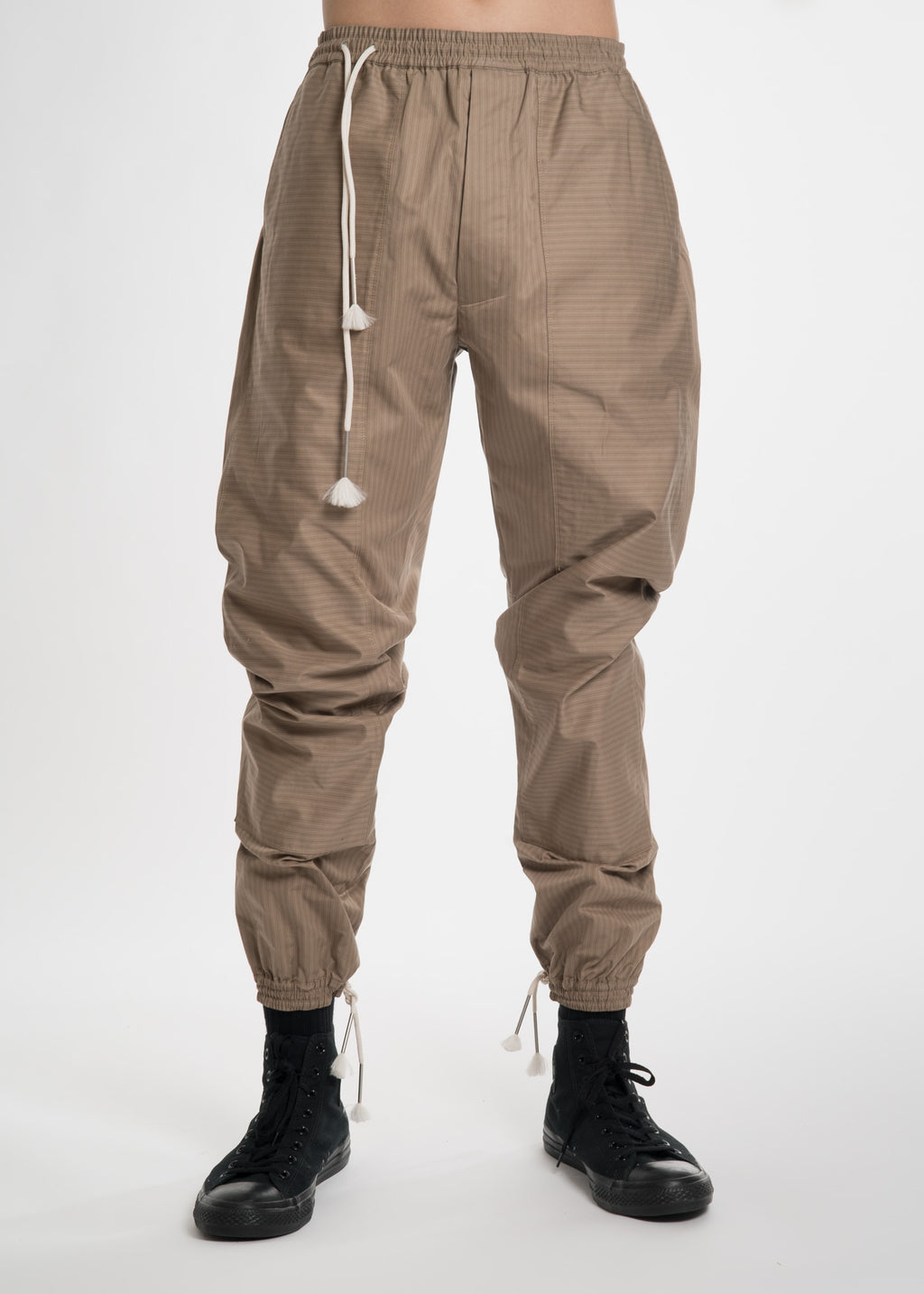 Beige Stripe Cotton Drawstring Pants