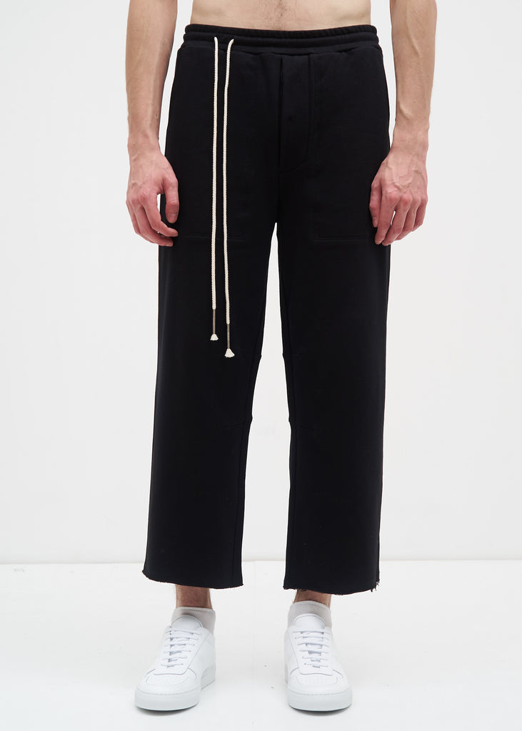 Black French Terry Cropped Wide Pants