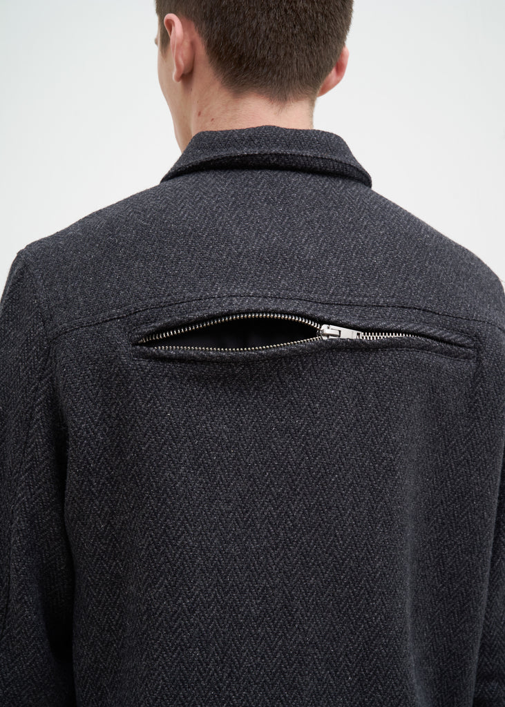 Charcoal Herringbone Wool Jacket