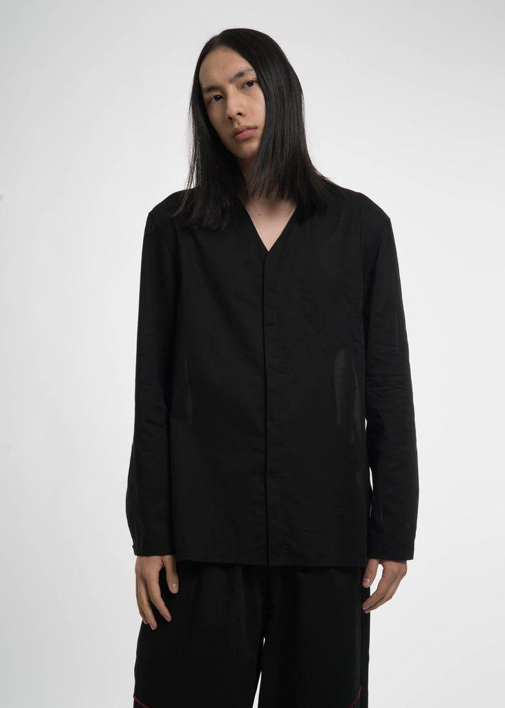 Black Cotton Monk V-Shirt