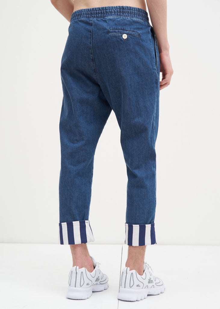 Blue Elastic Denim Pants with Stripes