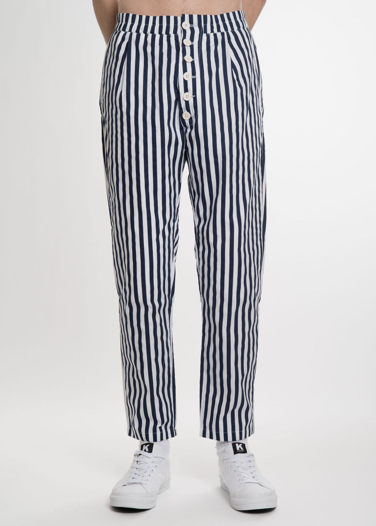 Blue Stripe Elastic Pant with Buttons