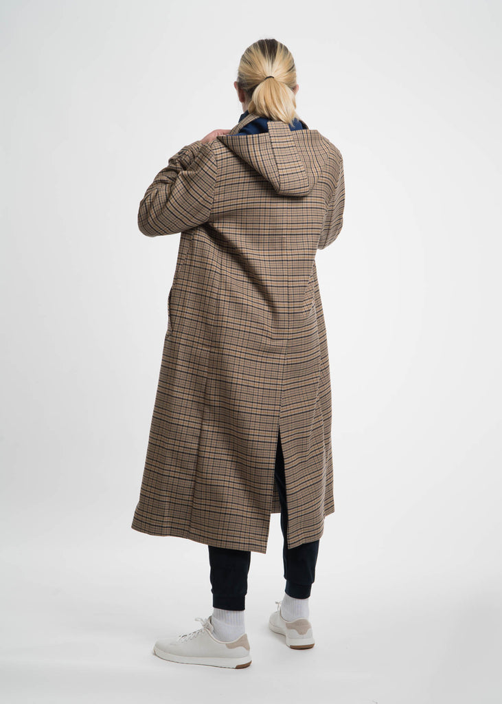 Brown Check Classic Coat with Hood