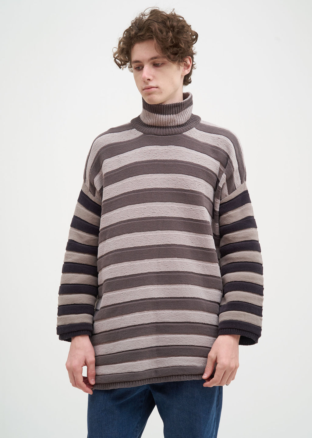 Grey Striped Chinille Sweater