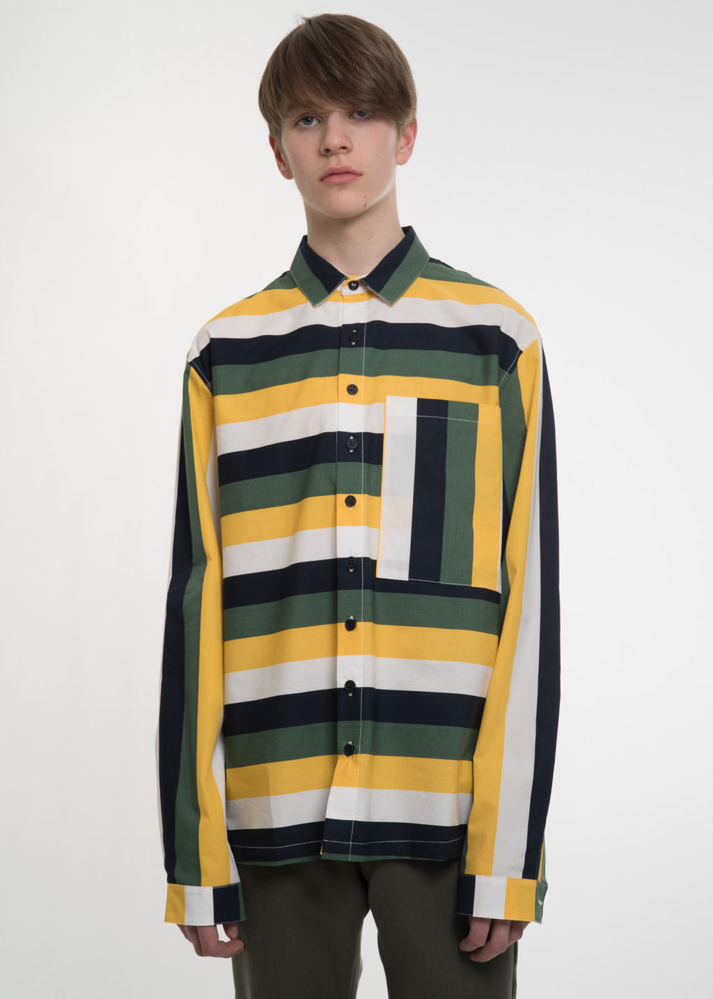 Multi Stripe Classic Shirt with Pocket