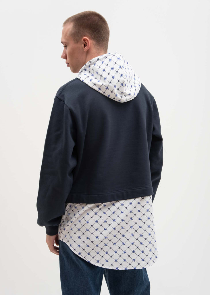 Navy Hoodie with Poplin Shirt
