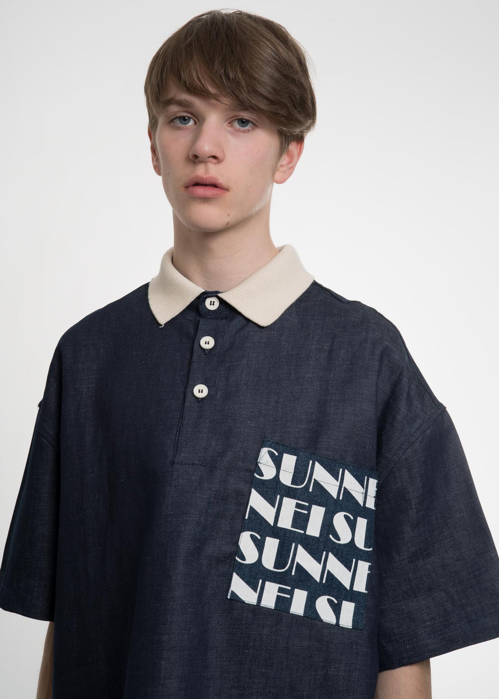Navy Oversized Pocket Polo
