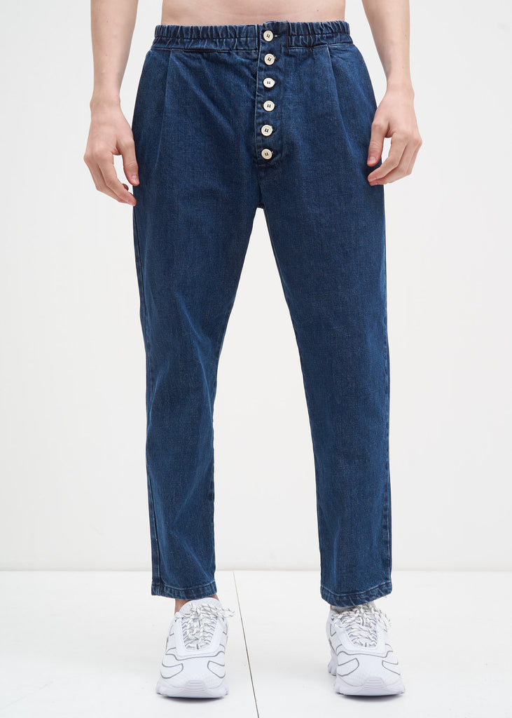 Washed Denim Elastic Pants w/ Buttons