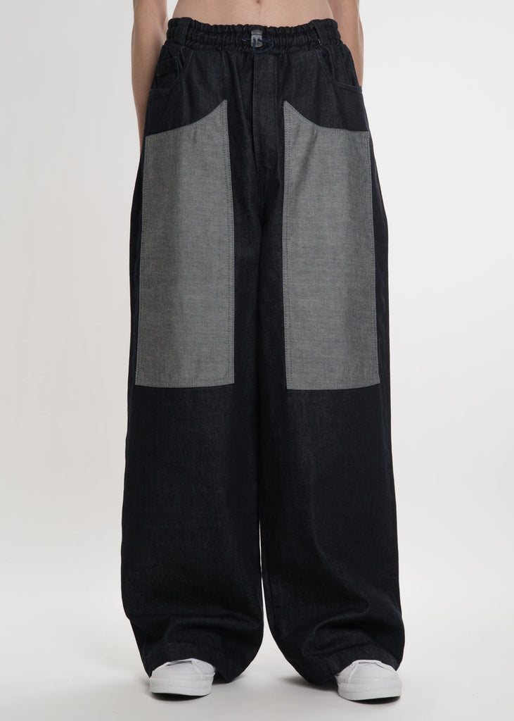 Unwashed Loose Elastic Denim Trousers
