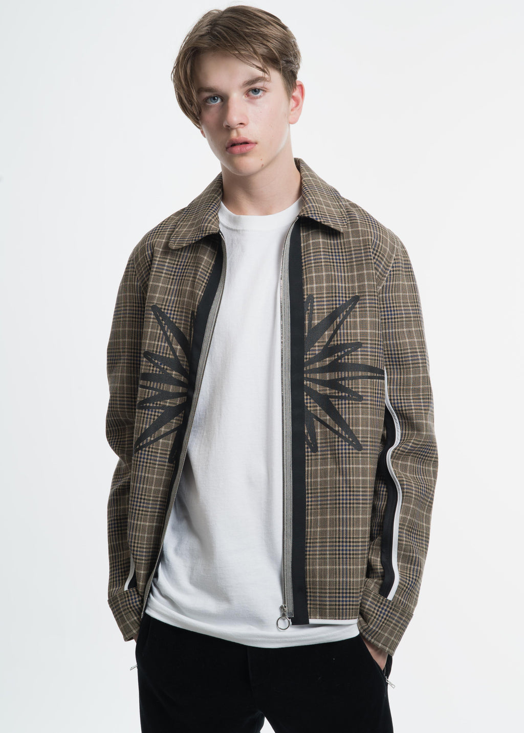 Tan Check FZ Shirt Jacket