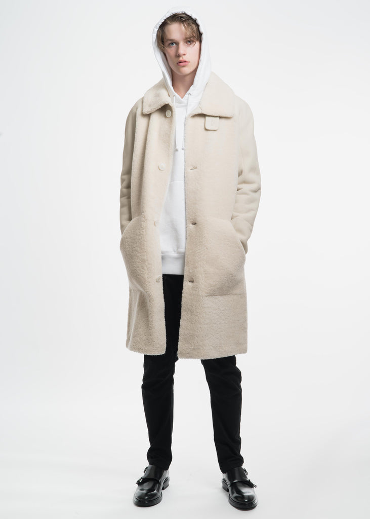 White Shearling Motocross Leather Coat