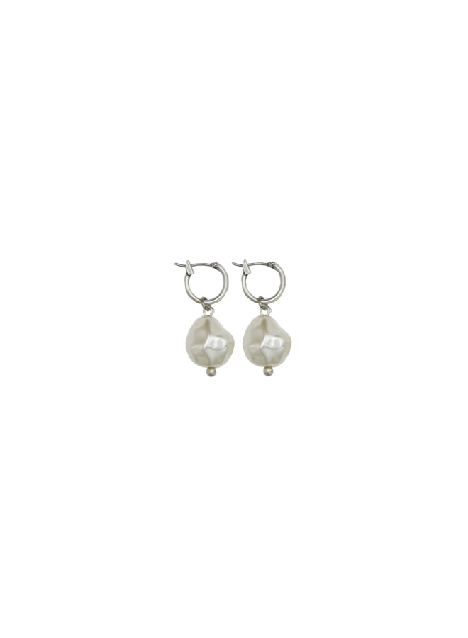 Silver Small Pearl Hoop Earrings