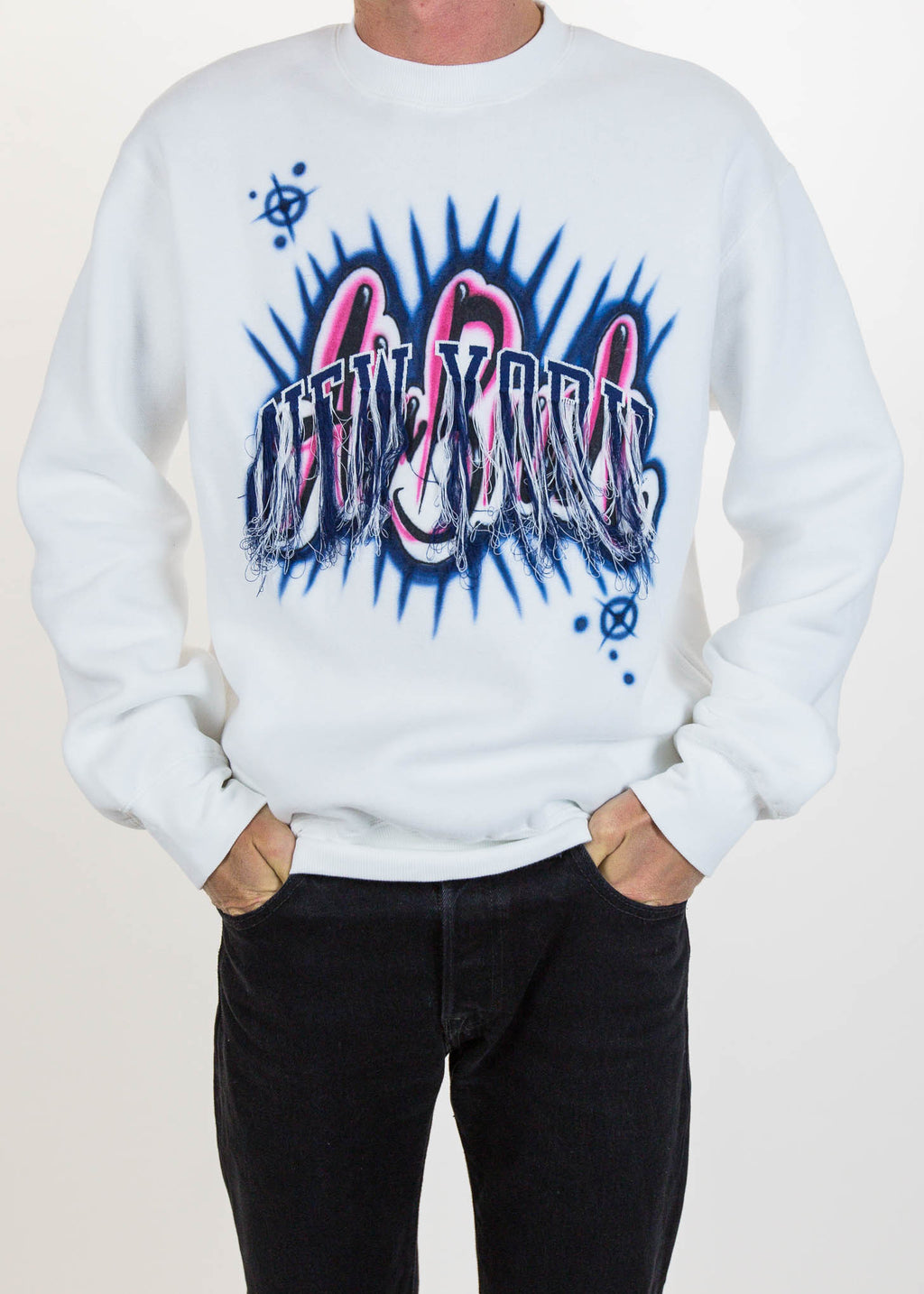 White Fringe Embroidery Air Brush Sweatshirt