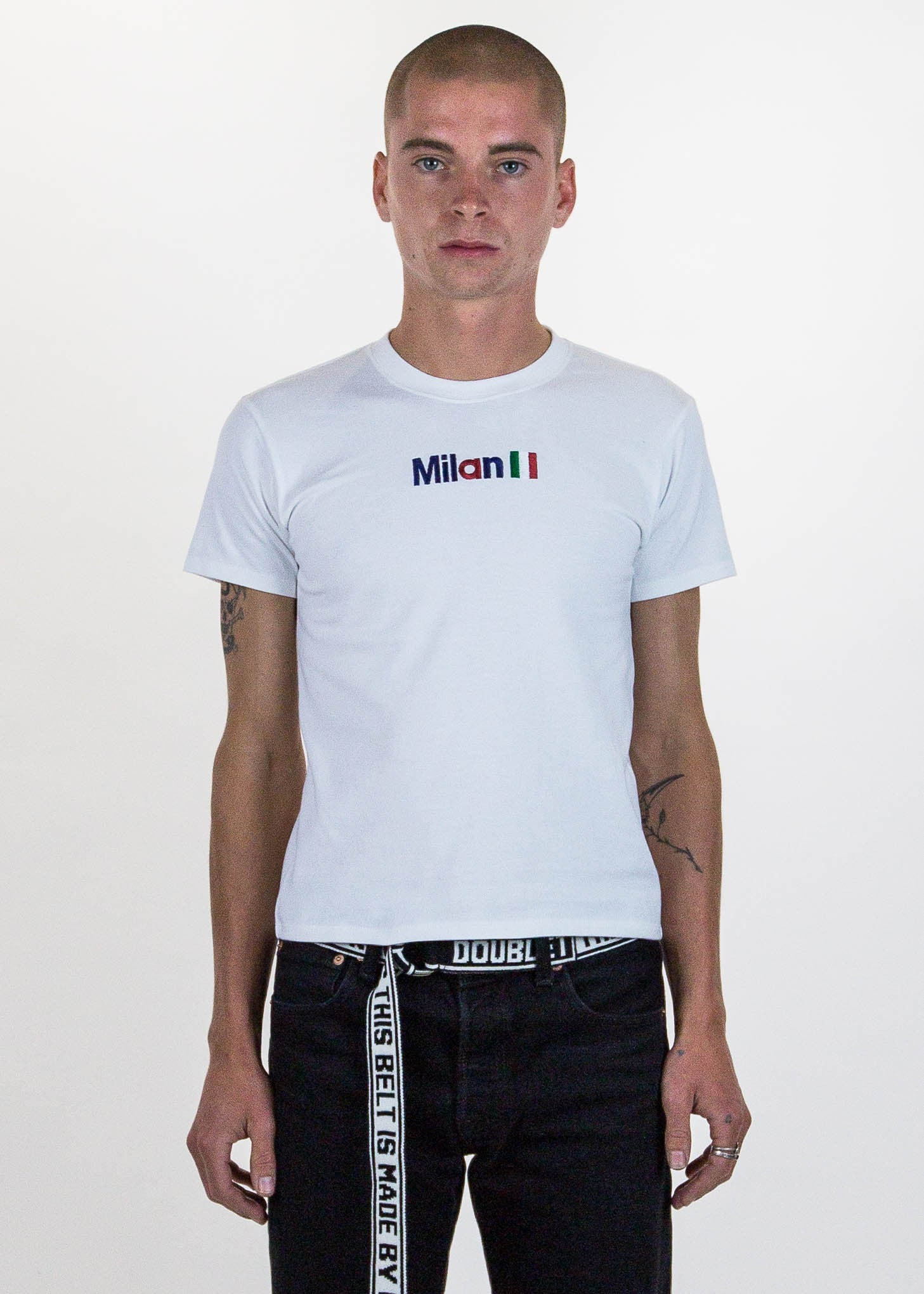 "White ""Milan"" Embroidery T-Shirt"
