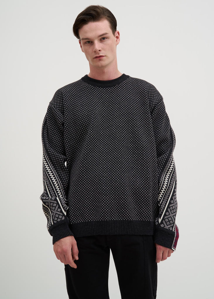 Black Norwegian Paneled Knit Sweater