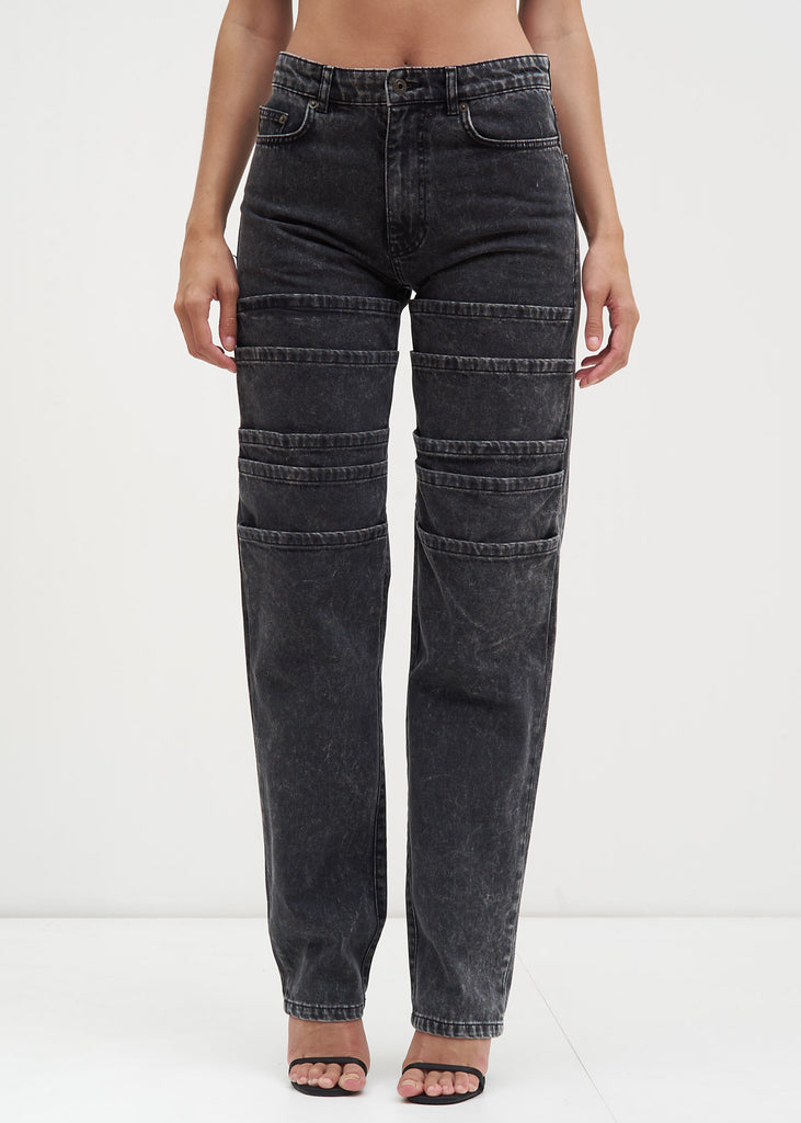 Black Stonewash Layered Jeans