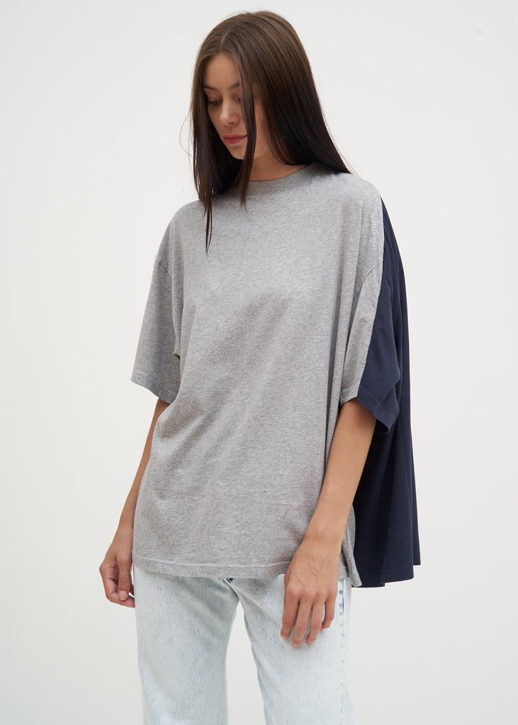 Grey and Navy Double T-Shirt