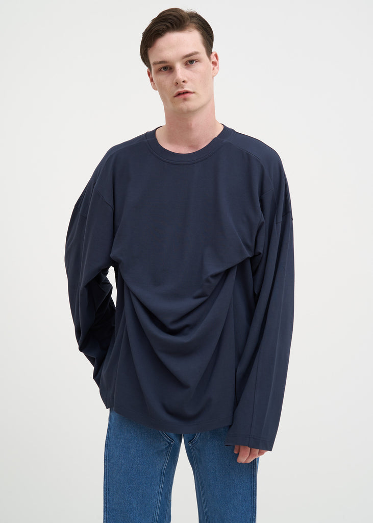 Navy Fixed Long Sleeve Double T-Shirt