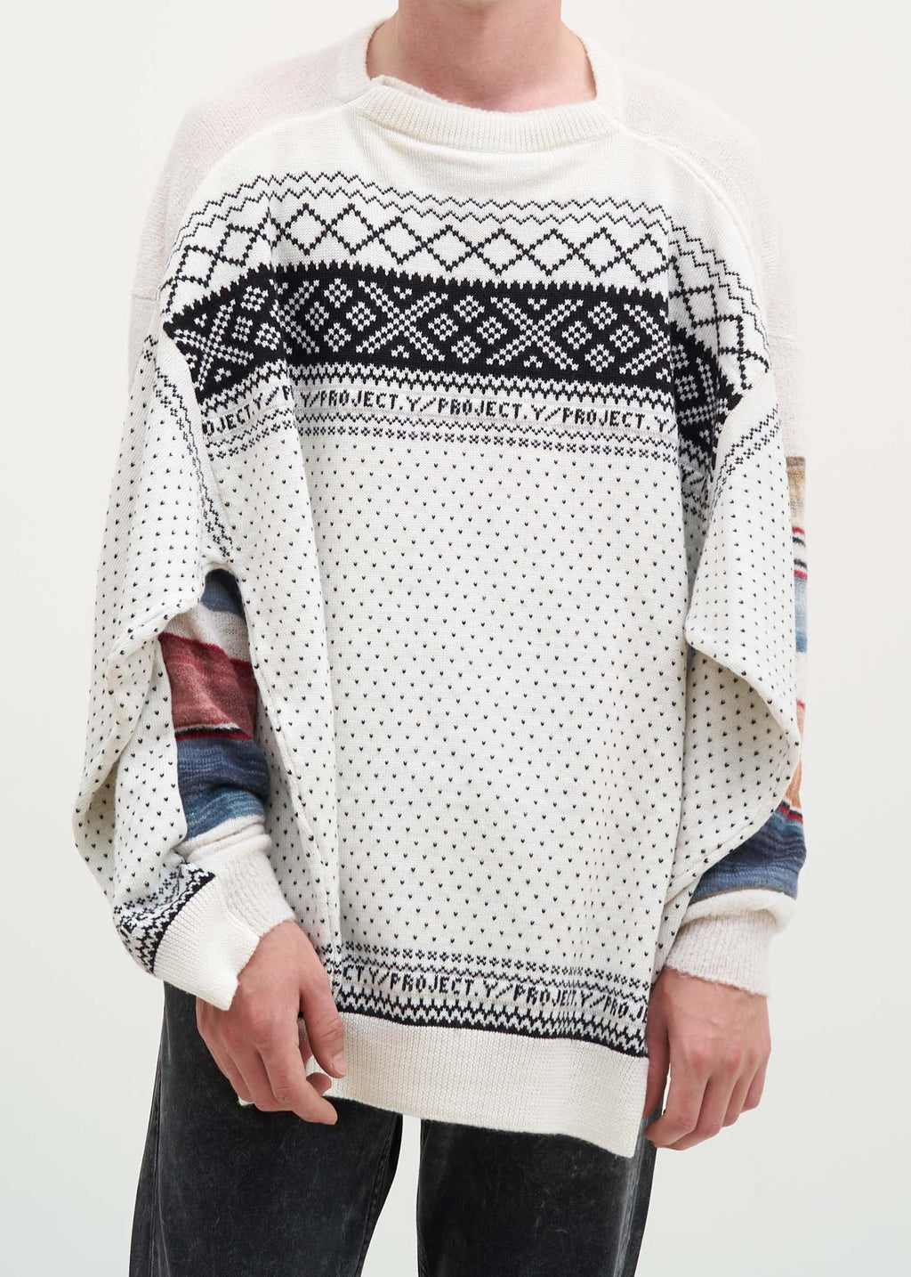 White Norwegian/Mexican Knit Sweater