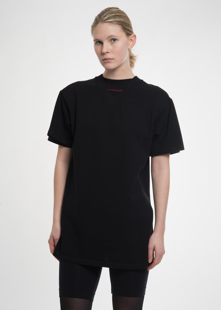 Black Double Neckline T-Shirt