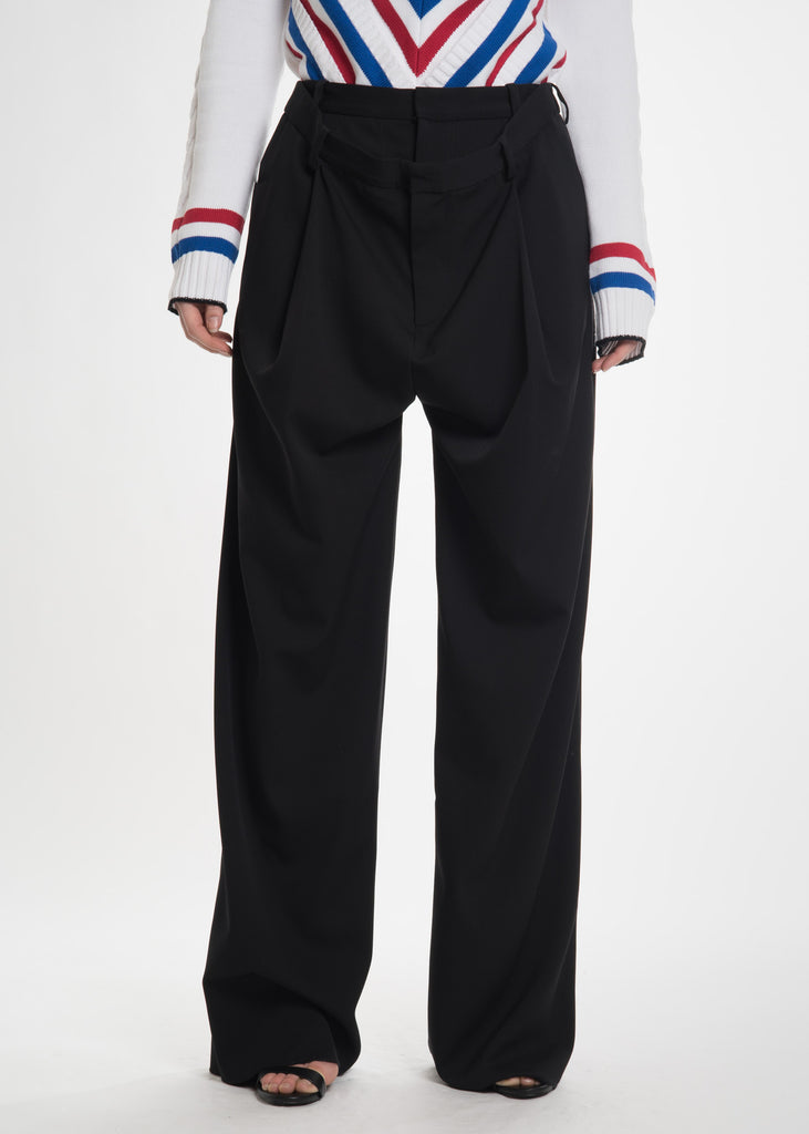Black Draped Front Trousers