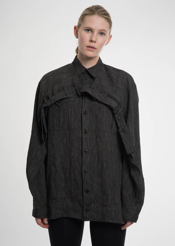 Black Linen Double Shoulder Shirt