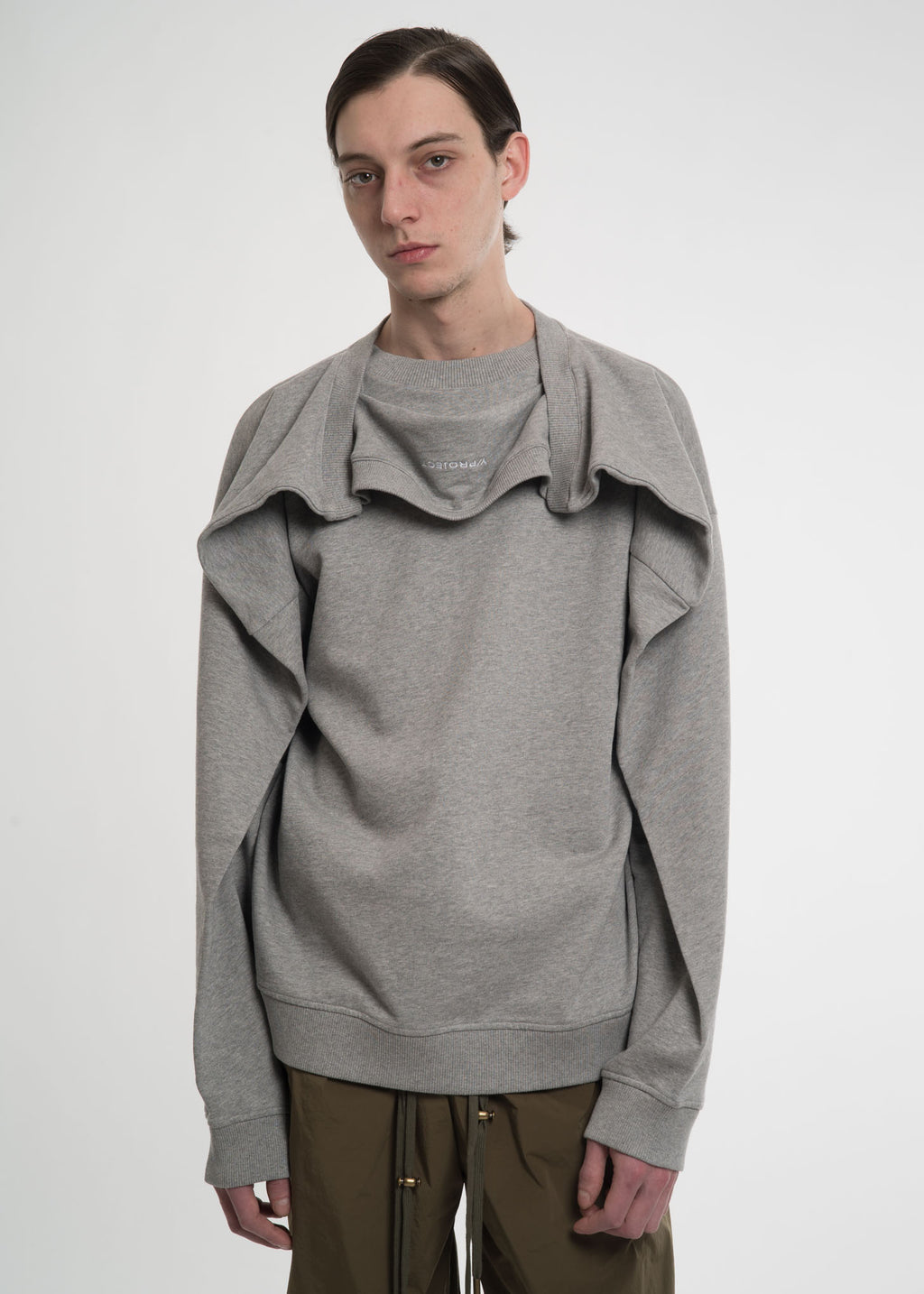 Grey Double Shoulder Sweatshirt