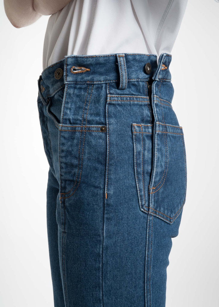 Y/Project, Navy Stonewash Multi Zips Jeans, 017 Shop