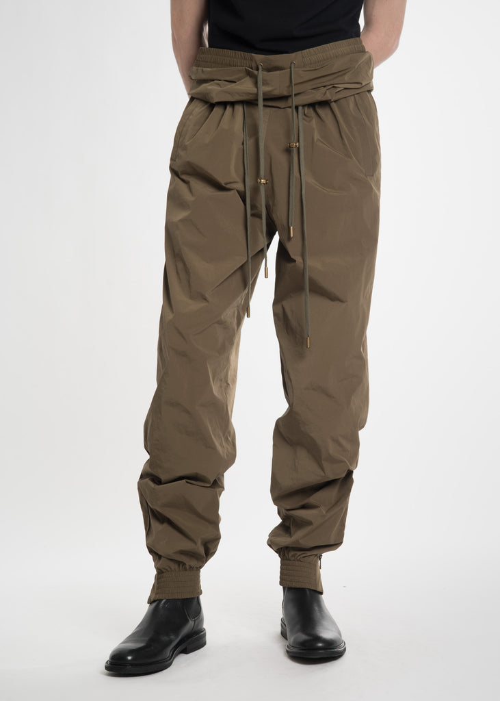 Olive Double Waist Track Pants