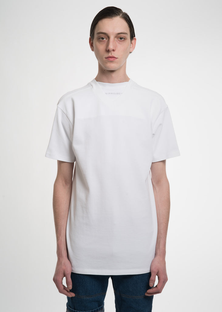White Double Neckline T-Shirt