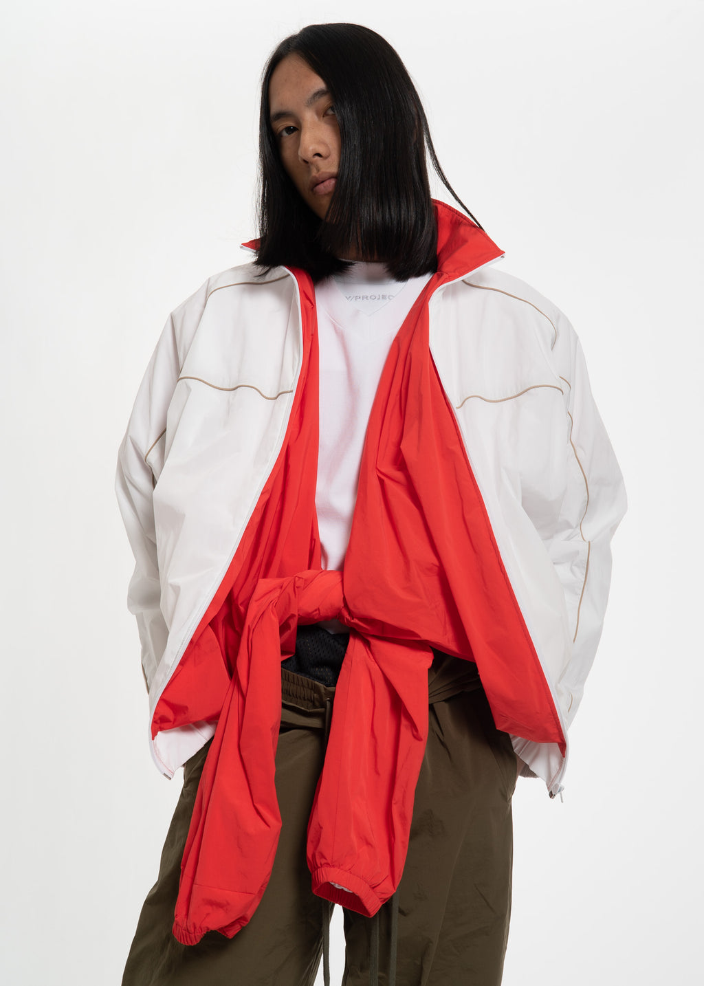 White and Red Layered Track Jacket