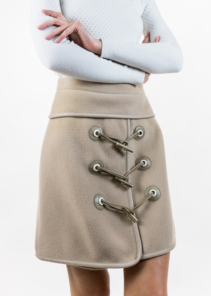 Camel Mini Felted Toggle Skirt